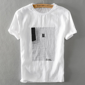 中国风复古亚麻衬衫t恤刺绣休闲宽松棉麻料短袖体恤衬衣男装 夏季