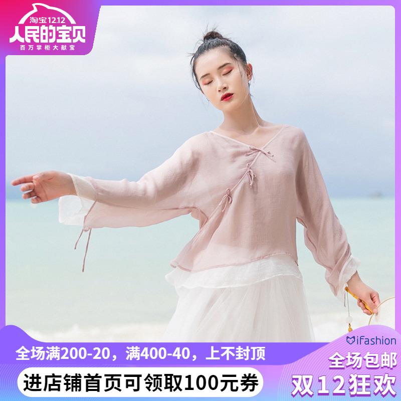 棉麻记2019夏季新款文艺复古中式系带衬衫防晒衫双层短款雪纺衫女