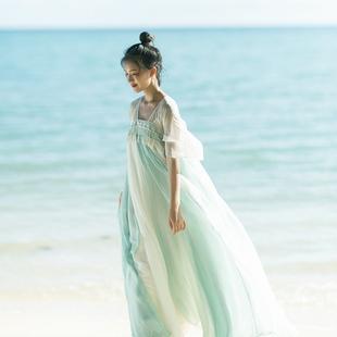忆旧棉麻记2018夏装新款女装 复古国风长裙 大摆连衣裙 汉服襦裙