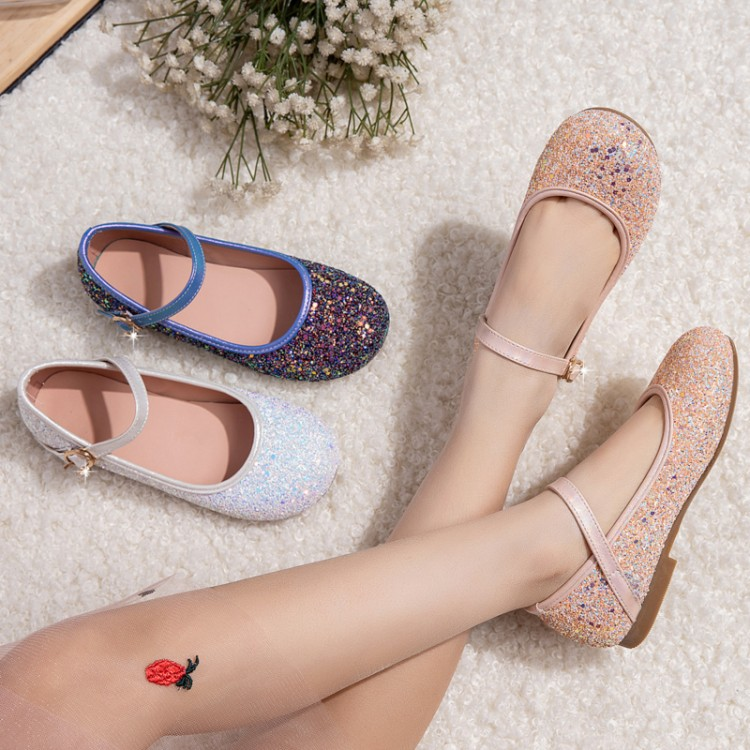 New single shoe womens shoes in spring and summer Oxford flat bottom square head shallow mouth Button Blue White Sequin parent child shoes