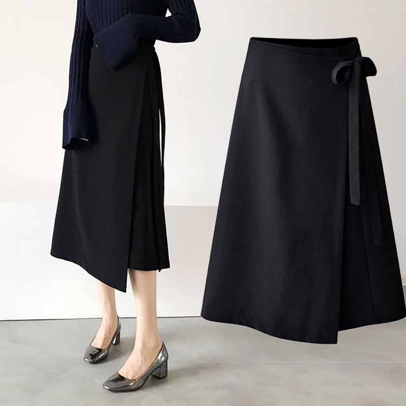 Bage skirt Korean female split skirt skirt waist  irregular in the long section of a word skirt