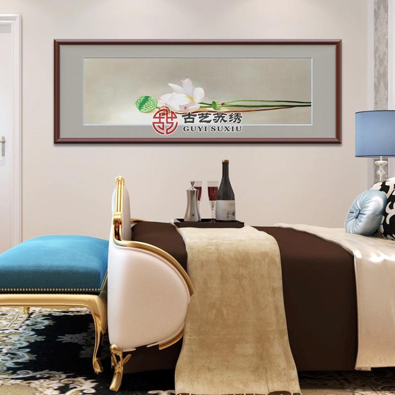 古艺苏绣成品挂画荷花客厅餐厅书房卧室床头画新中式手工刺绣挂画