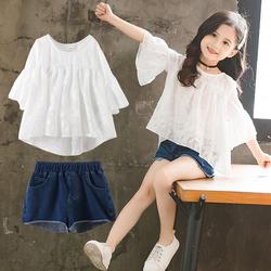 女童装夏装两件套装2020年新款中大童洋气网红小女孩夏季儿童短裤