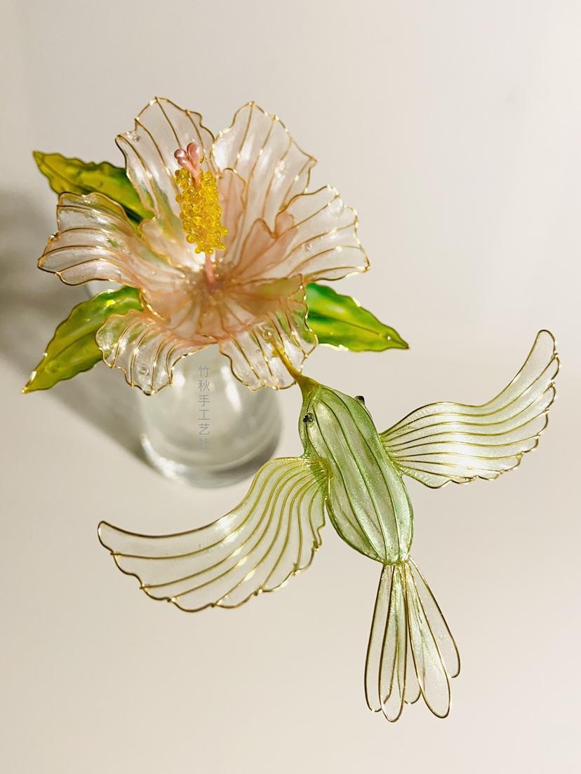 手工艺造花液树脂木芙蓉青鸟发簪日常盘发汉服古风头饰和风