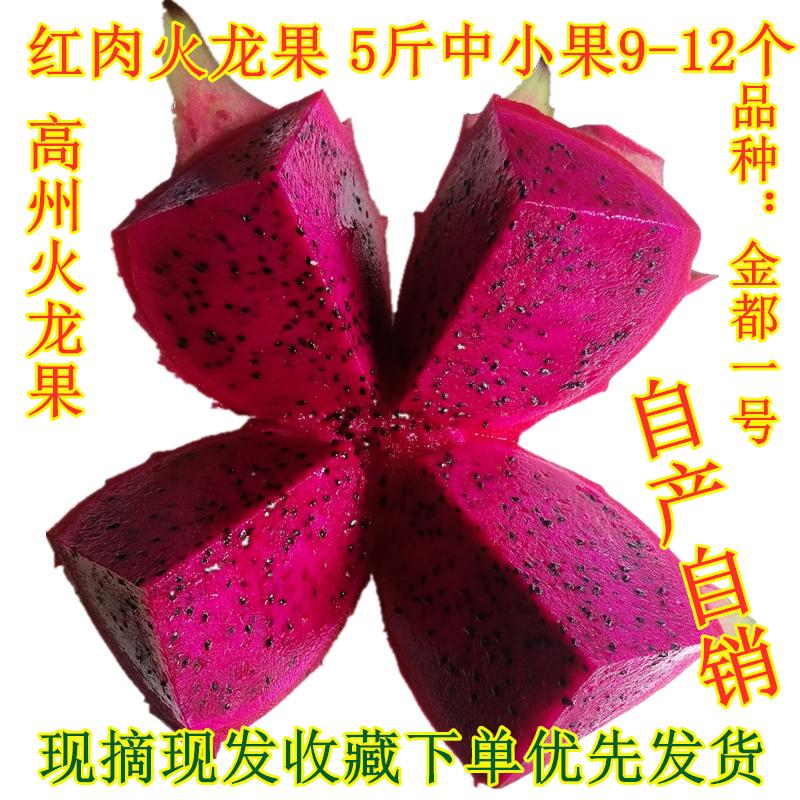 红心火龙果5斤装现摘中小果新鲜水果包邮红肉火龙果金都一号红肉