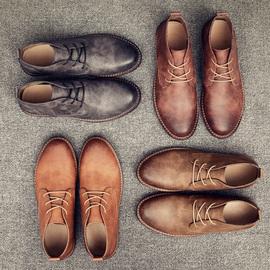 社会小伙男鞋冬季潮鞋沙漠靴潮男英伦风复古短靴小皮鞋青年马丁靴