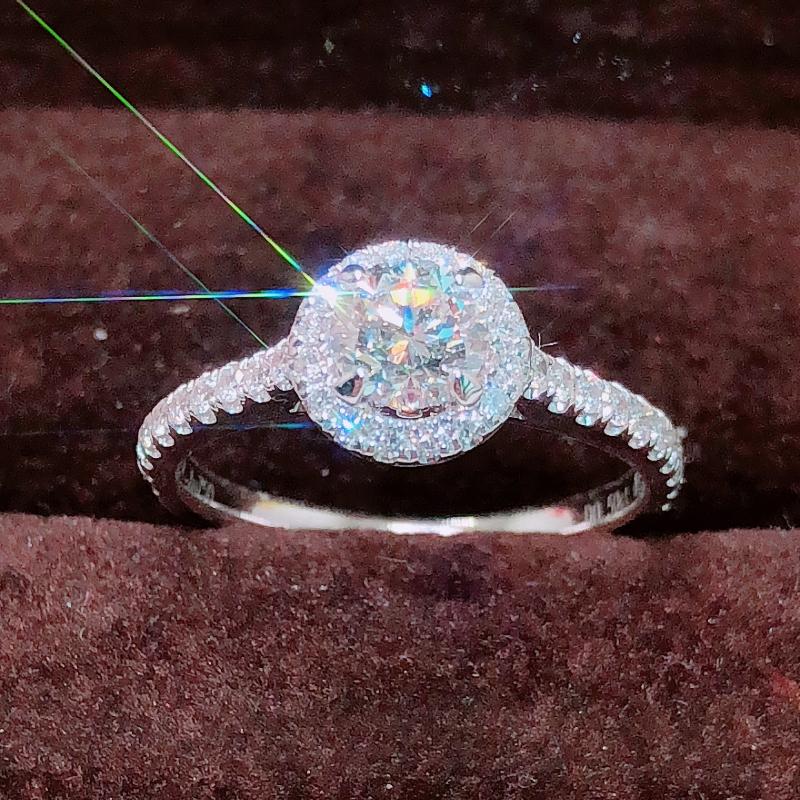 GIA钻石18K白金50分围一圈钻戒 群镶显大求婚结婚钻戒正品定制女