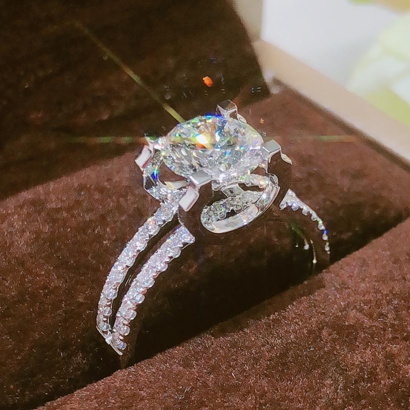 GIA 1.5克拉圆形钻石戒指正品 牛头钻戒显大求婚结婚钻石女戒定制