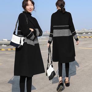 双面羊绒大衣女2019新款流行拼接千鸟格黑色中长款小个子毛呢外套