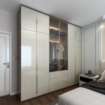 高光轻奢衣柜定制主卧全屋家具整体白色灰色玻璃衣柜工厂定做家装