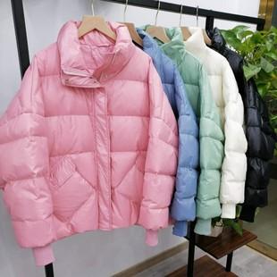 反季羽绒服女短款欧洲站韩版白鸭绒大码宽松显瘦小个子网红面包服