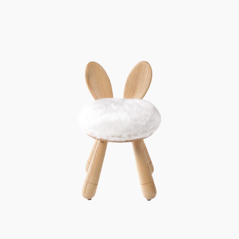 上形 儿童靠背椅子小兔凳 实木椅子化妆餐凳儿童画画靠背上形家具