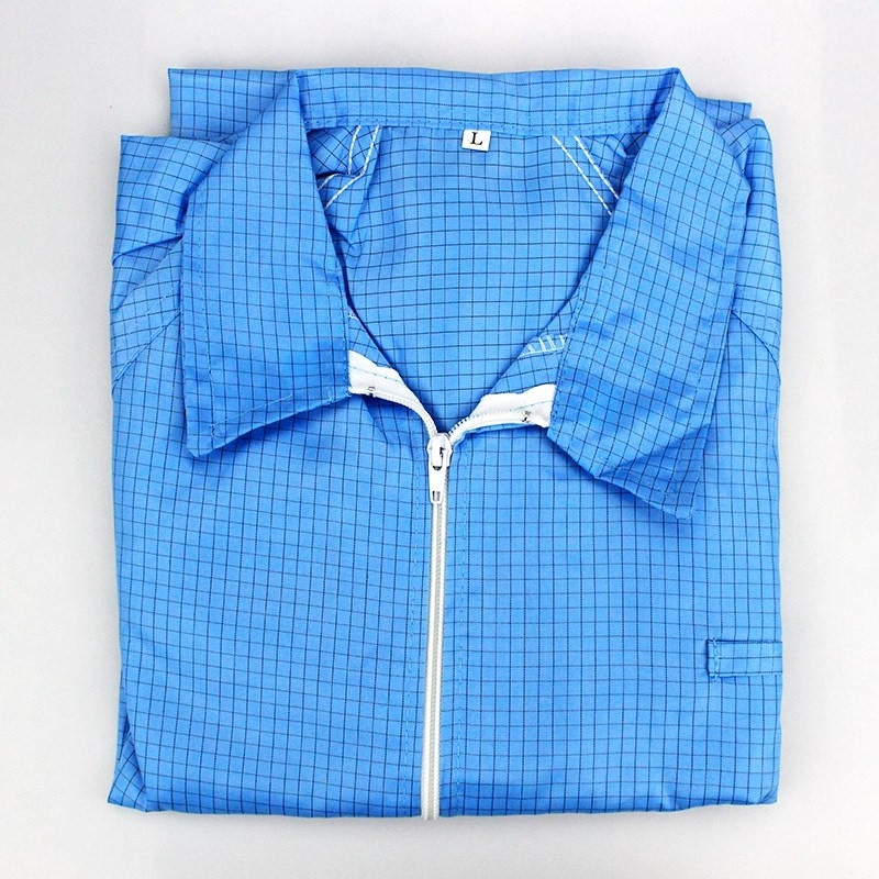 Jacket work clothes grid Pink Plaid white work clothes blue short electrostatic yellow