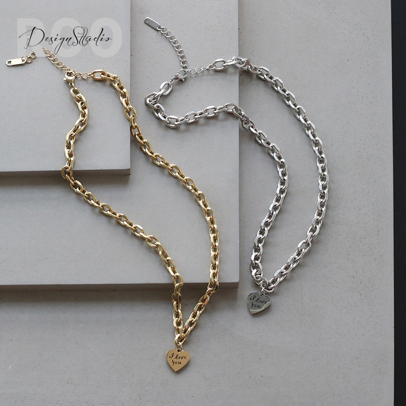 [roo] New Korean titanium steel thick chain I love you Necklace