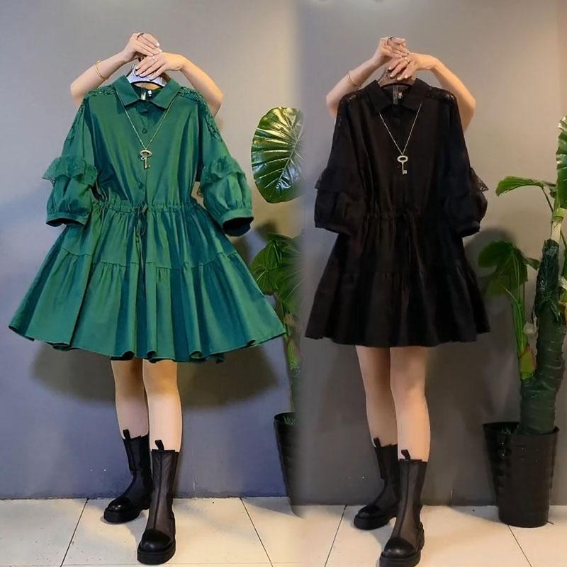 2021年秋季新款韩版衬衫裙小个子宽松显瘦蕾丝灯笼袖中长款收腰女
