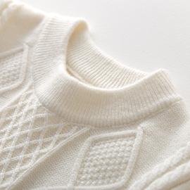 男童毛衣加厚中大童秋冬羊绒打底高领宝宝儿童女童白色羊毛针织衫