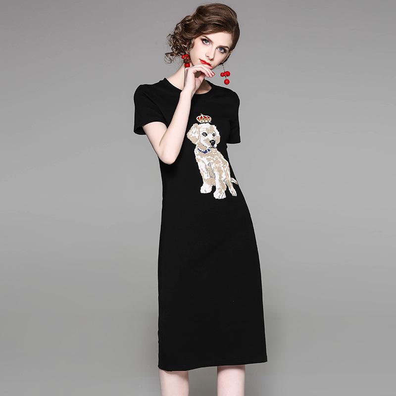 五一出游2018春夏新款女装休闲运动棉t恤裙 时髦舒适连衣裙欧货潮