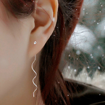 Breeze ·999 Pure silver ear line earrings ear nail korean little earrings female fashion long temperament wave earrings