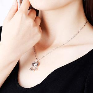 平安锁 项链女款纯银999小银锁吊坠成人大人长命锁银饰520礼物