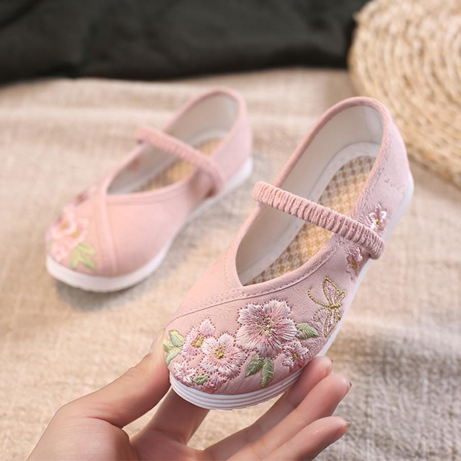 汉服鞋子儿童绣花鞋古装手工复古鞋女童中国风小白鞋老北京布鞋子