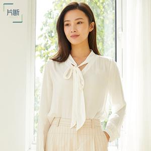 片断2021春新蕾丝象牙白圆领套头直筒绑带宽松薄短款时尚衬衫女