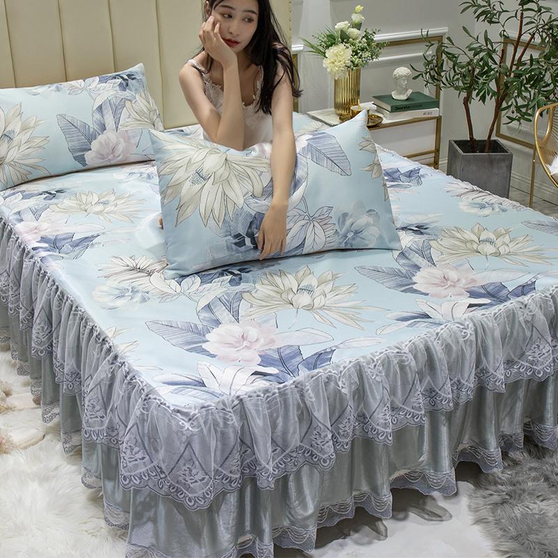 冰丝席三件套床裙款可水洗折叠凉席夏季1.5米1.8m床2.0床单夏席子