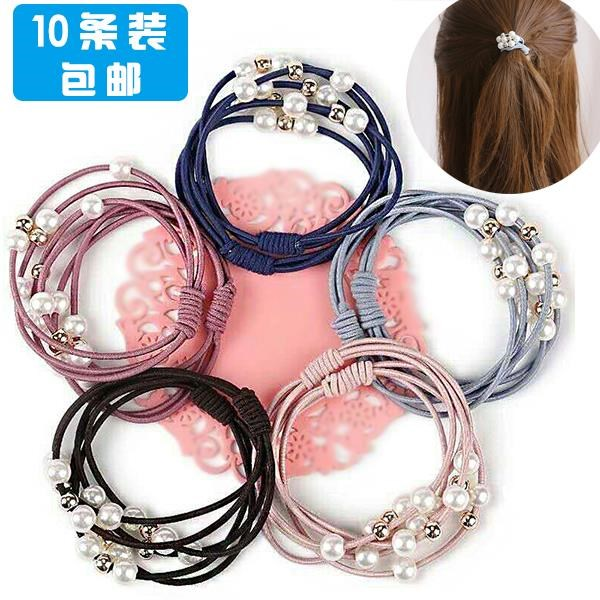Ponytail womens cool girl with hair band and Pearl little girls hair rope