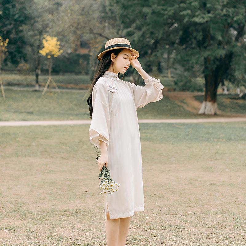 实拍7060#民国少女改良旗袍拼接蕾丝售价不低于85
