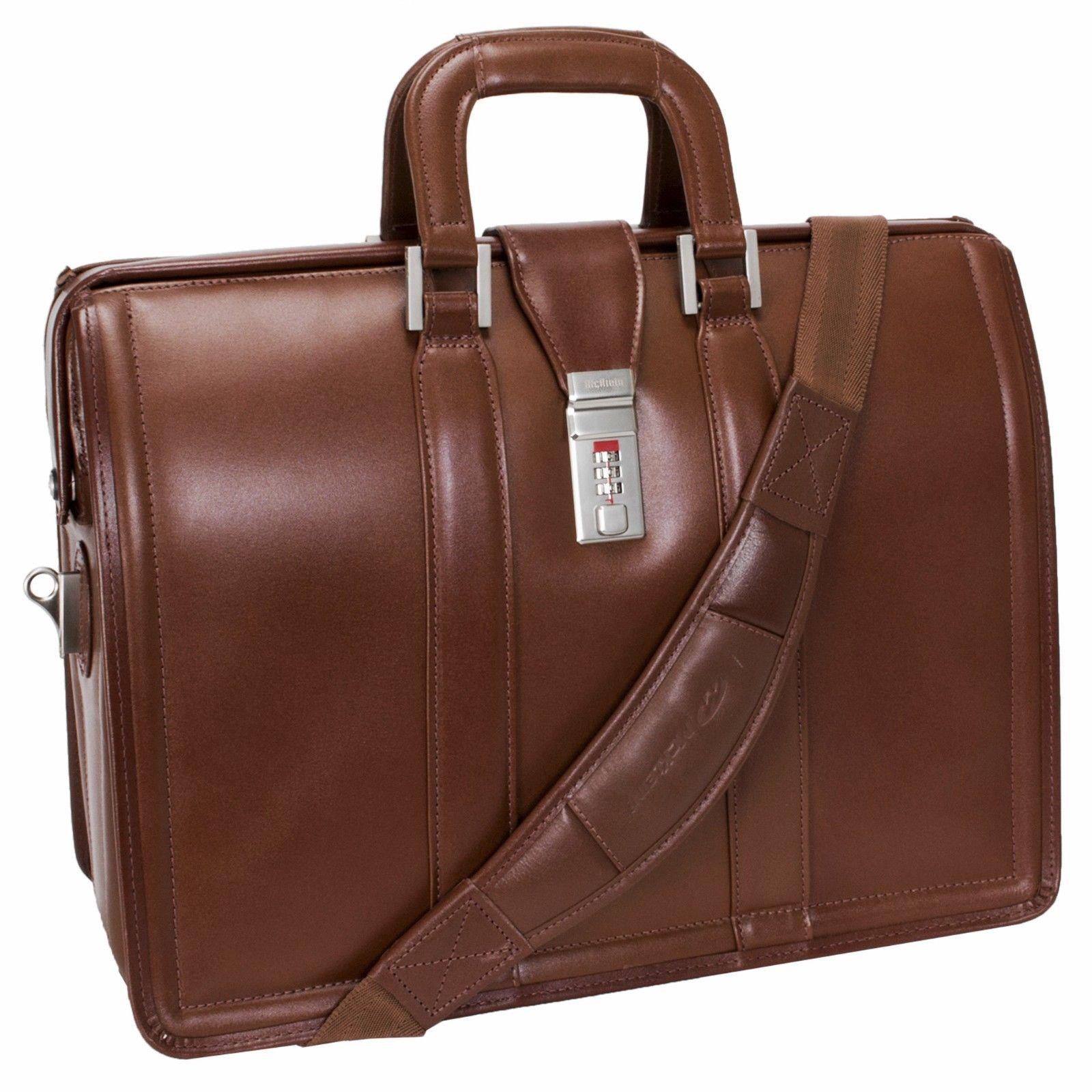 McKlein USA男士 公文包商务手提包棕色复古时尚报道斜跨背包