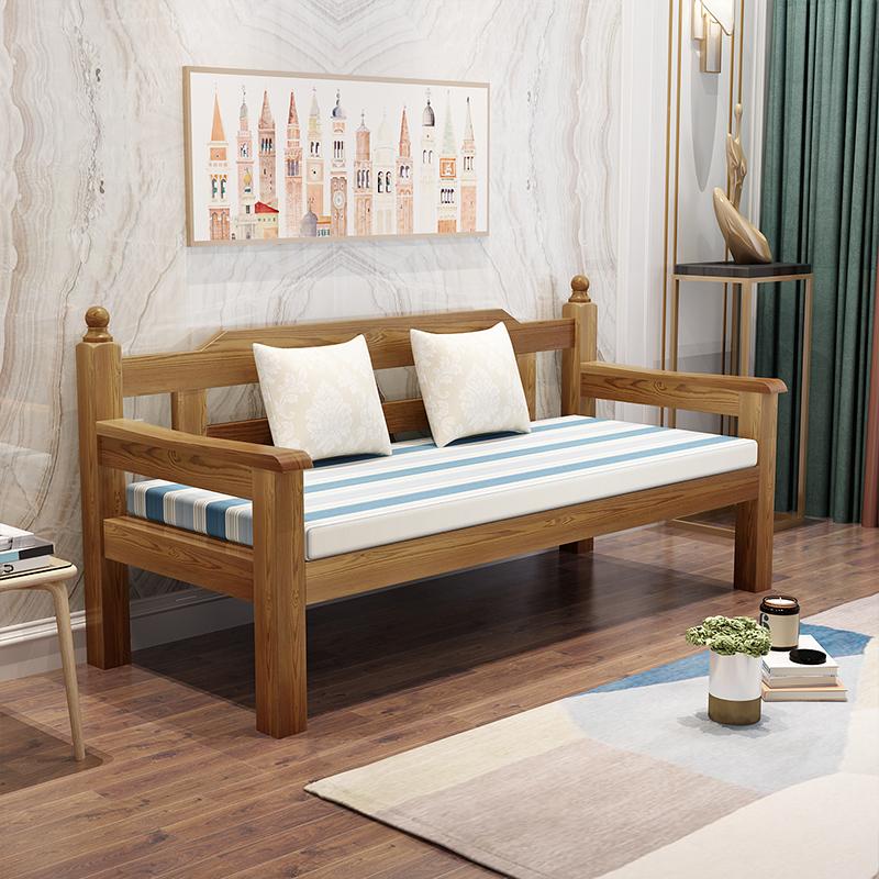 出租房實木沙發椅陽臺休閑靠背椅小戶型客廳臥室單雙三人家用長椅