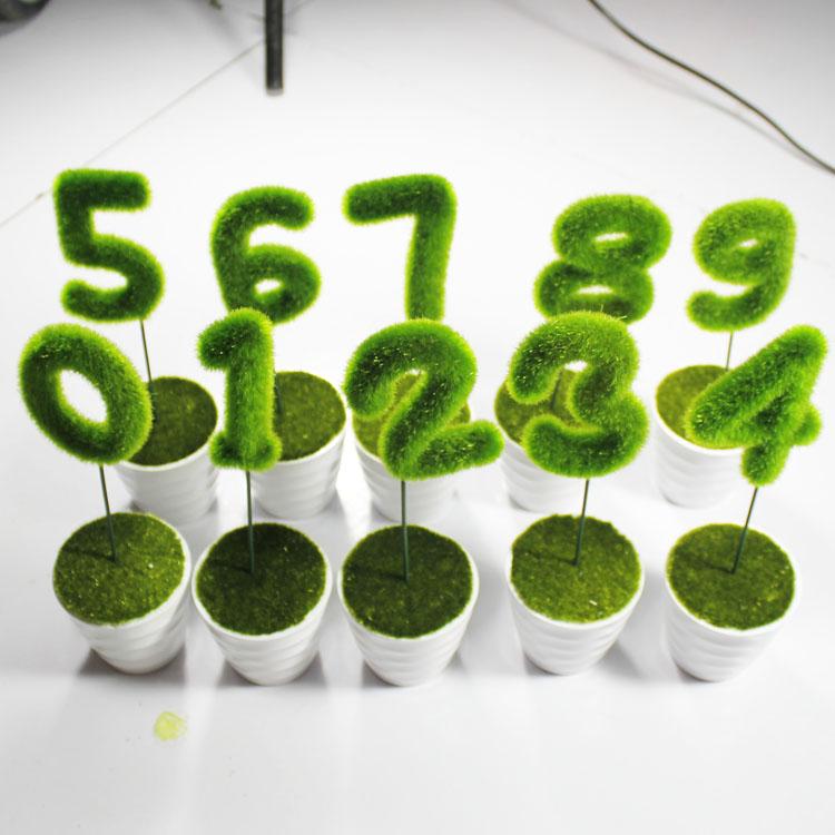 アルファベット盆栽室内のデスクトップの小さい置物北欧装飾装飾装飾装飾装飾装飾装飾の緑色植物のシミュレーション盆栽の数字