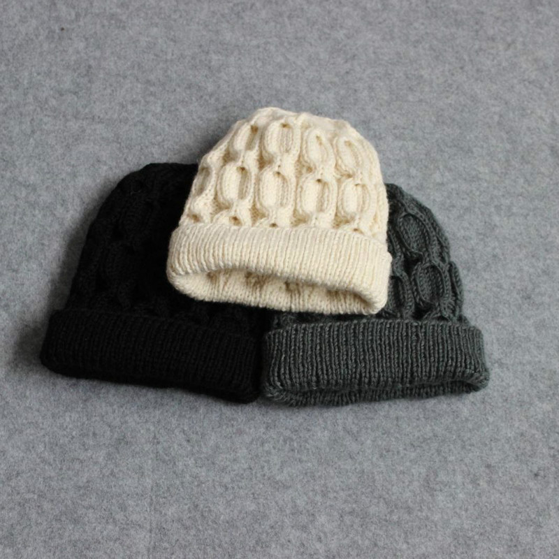 Winter woolen hat pure handmade wool knitted hat winter thickened warm mens and womens universal pin flanging hat