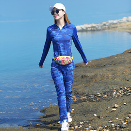 爱雪户外男女速干衣裤套装时尚迷彩运动登山弹力透气长袖长裤套装