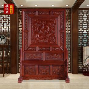 东阳木雕年年有余实木屏风中式仿古香樟木双面雕刻座屏插屏