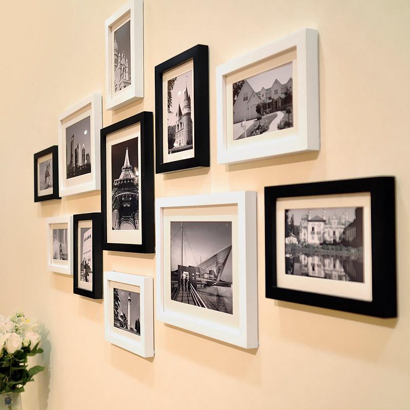 实木照片墙装饰婚纱画相框挂墙组合现代简约客厅生活照创意相片墙