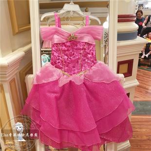 香港迪士尼女童睡美人爱洛公主裙礼服连衣裙多层裙演出服表演服