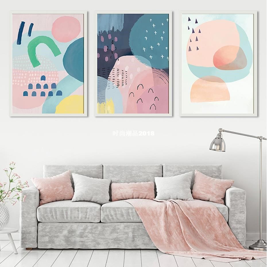 Abstract Multi Pink Princess Canvas Paintings Nordic Waterco