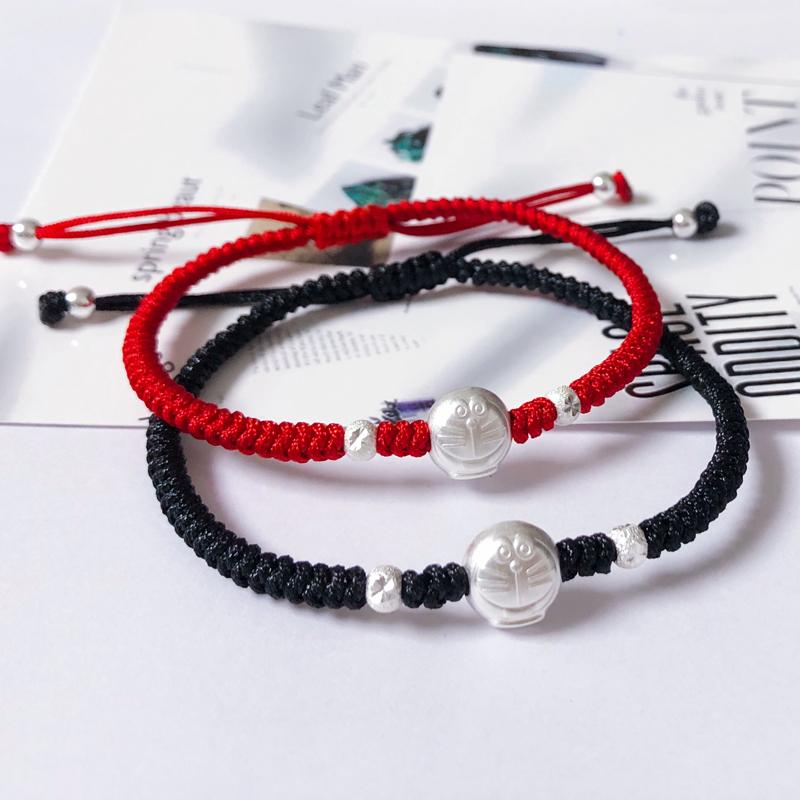 S925 纯银编织红绳机器猫学生哆啦a梦情侣手链送朋友闺蜜纪念礼物