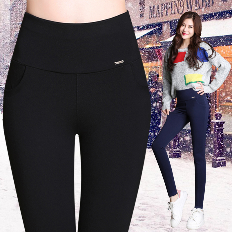 Autumn and winter high waisted womens trousers with plush underpants black thickened Leggings Korean slim magic pants