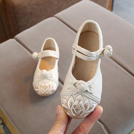 老北京布鞋儿童绣花鞋休闲女童民族风国风汉服演出舞蹈鞋公主鞋潮