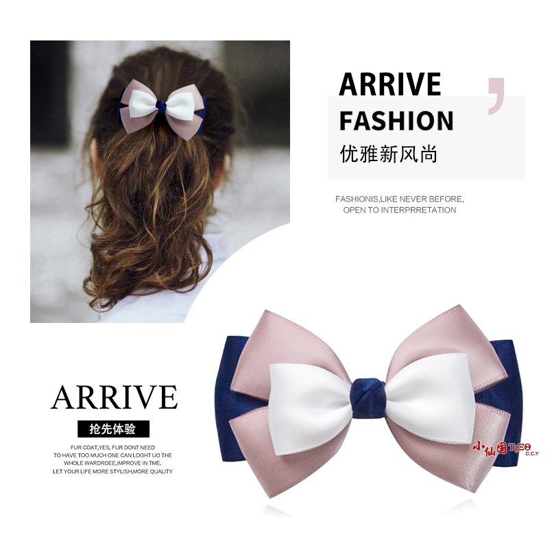 Korean bow headdress Japanese Adult Lady spring clip back of head hairpin hairpin hairpin top clip net red
