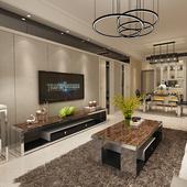 大理石电视柜茶几组合套装现代简约不锈钢玻璃家用地柜客厅小户型