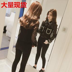 2018春季新款韩版白色polo领透视蕾丝衬衫女装长袖打底衬衣潮
