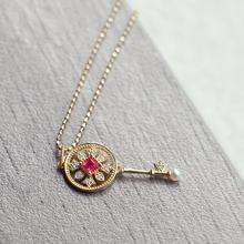 Ree光启示录甜美日系小钥匙吊坠项链红宝石钻石18k黄金