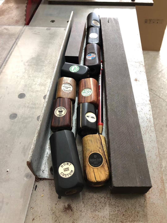 【亨特定制】小头台球杆纯手工制作修复维修改后把改插花调锥度等