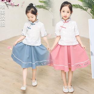 女童漢服唐裝2019新款短袖花朵女孩中大童古裝兒童表演服兩件套