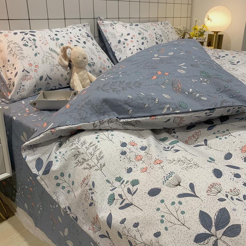 ins风纯棉床上四件套全棉100床单被套网红同款三件套床笠床上用品