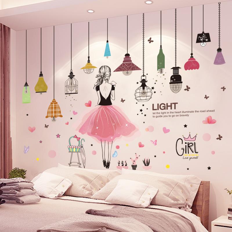 卧室女孩床头可爱卡通贴纸装饰墙纸