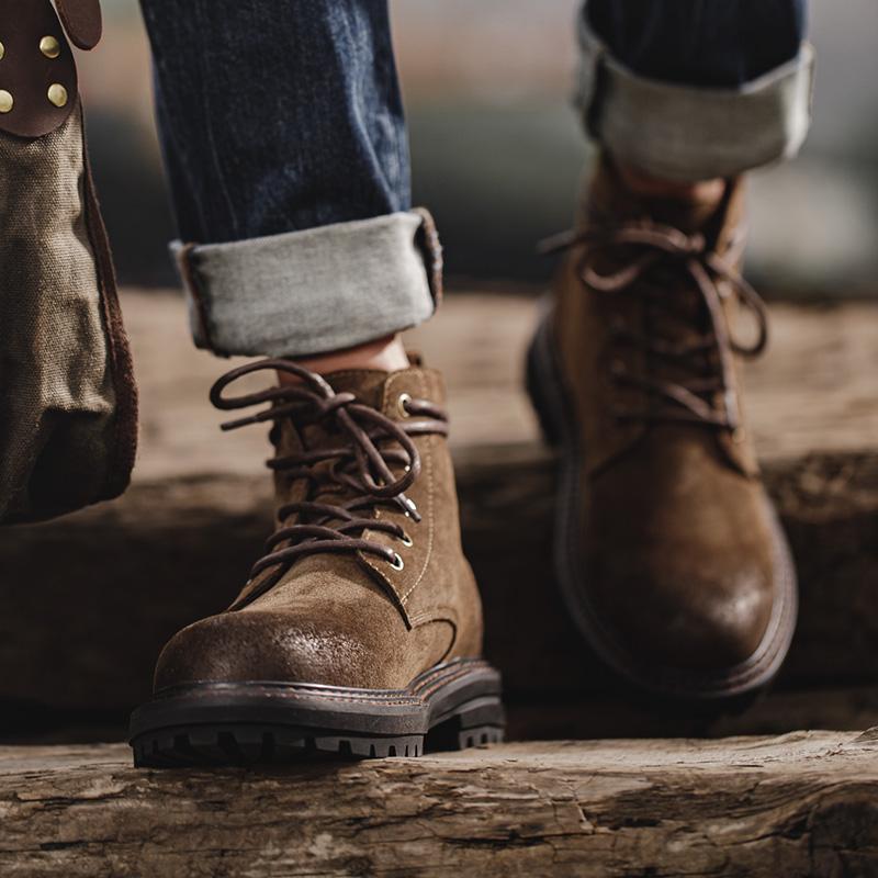 男鞋秋季工装靴中帮沙漠靴高帮英伦马丁靴休闲潮男真皮短靴子2020