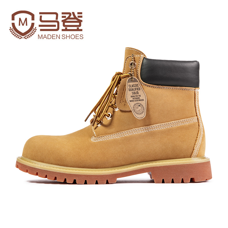 Rhubarb boots men's winter plus velvet high-top Martin boots British tooling shoes middle-top desert leather boots kick not bad 10061